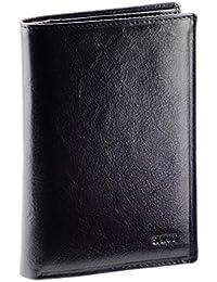 OLIVIA TENDANCES - Grand portefeuille homme / Portefeuille en cuir noir N1559 Carte grise Cadeau homme - Stylo/Stylet OFFERTE - Noir, Cuir