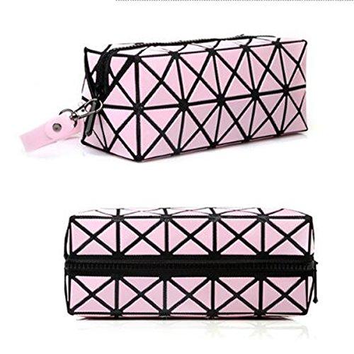 Geometrisch Rhombus Make-up Taschen Tragbare Lässig Kosmetiktaschen Waschbeutel Pink