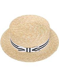 cd29b3ae051925 RIONA Women's Natural Straw Boater Hat Flat Top Summer Beach Sun Hat UPF 50+