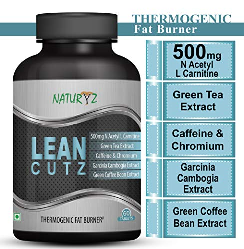 Naturyz LEAN CUTZ Thermogenic Fat Burner with 500mg Acetyl L Carnitine, Green tea Extract, Garcinia Cambogia, Green Coffee Bean Extract, Caffeine & Chromium for Weight Management 60 Tablets