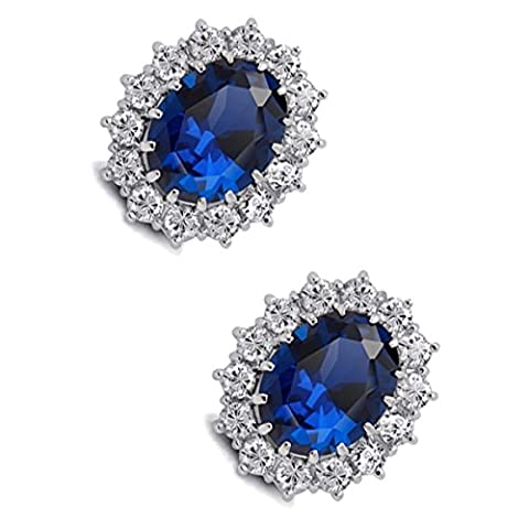 GWG® Earrings for Women Sterling Silver Plated Oval Sapphire Blue Crystal Adorned with White Stones Vintage