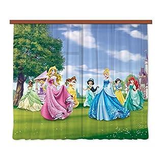 Disney AG Design Princess Kids Curtains/3D Photo Print, Polyester, Multi-Colour, 180 x 160 cm