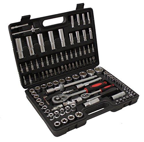 Grafner® Ratschenkasten Steckschlüsselsatz Knarrenkasten Werkzeugkoffer 108 teilig 1/2