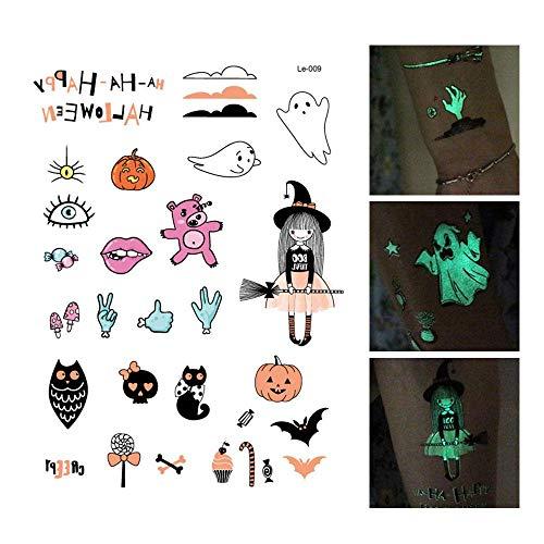 FOONEE Halloween Luminous Aufkleber, Kürbisse, Gruselige Hexe Fledermäuse Luminous Tattoos Glow in The Dark Abnehmbare Aufkleber Halloween Partyzubehör Kinder Geschenk e