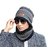 Unisex Cap 2-Pieces Winter Beanie Hat Scarf Set Warm Knit Thick Skull MäNner Frauen MüTze Hut Schal Mit RöMischer Gladiator Ritter Handgestrickte Kappe Warme StrickmüTze(Grau,freie Größe)