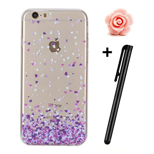 Custodia per iPhone 6s, toyym iPhone 6 6S Custodia Bumper trasparente, flessibile, in silicone [trasparente] morbido TPU ultra sottile resistente agli urti + Drop assorbimento + antigraffio] Cover Ski Purple love