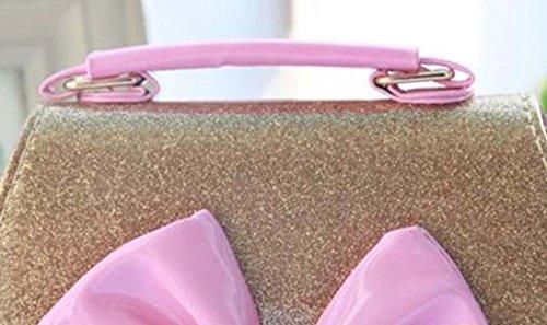 Happy Cherry Kleines Mädchen Tasche Kinder Umhängetasche Mode Frauen Schultertasche PU Leder Handtasche Mit Schleife Verstellbarer Schultergurt Taschen Henkeltasche Girls Bag 16 * 8 * 12,5cm - Gold Gold