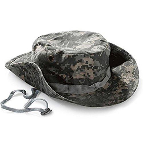 Drawihi praktisch Camouflage Cap Outdoor Fischer Hut Klettern Fischen Sonnenschutz Hut Jazz Hut Dschungel Runde Kante Kappe Tarn Hut (Armee-Grün)