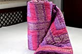 #8: Namaste India Double Bed Size Purple Jaipuri Cotton AC Quilt Razai with Gold Prints - King Size