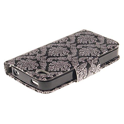 MOONCASE iPhone 4/4S Coque, Printing Series Case Étui en Cuir Portefeuille Housse de Protection Etui à rabat Cover pour Apple iPhone 4 / 4S TX04 TX08 #0401