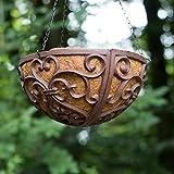 Antikas - Blumenampel in antikbraun - Hanging Basket - handgefertigt für Balkon oder Terasse