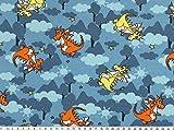 ab 1m: Kinder-Jersey, lustiger Drache, blau-mehrfarbig,