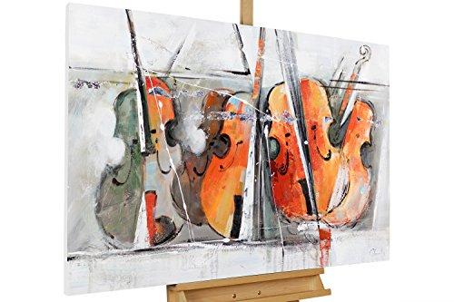 KunstLoft® Acryl Gemälde 'Quartett der Geigen' 120x80cm | original handgemalte Leinwand Bilder XXL | Musik Abstrakt Geige Violine Bunt | Wandbild Acrylbild moderne Kunst einteilig mit Rahmen