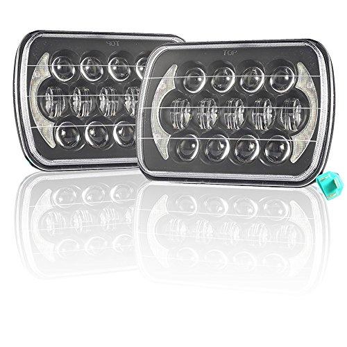 esyauto 5x 717,8x 15,2cm Osram LED-Scheinwerfer rechteckig 85W High Low Beam mit Weiß DRL Angel Eyes Halo Ring Truck Scheinwerfer Ersatz für Jeep Wrangler YJ Cherokee XJ H6014H6052H60546054R-h6054ll H50546982260526053(2, schwarz) (H6054 Led)