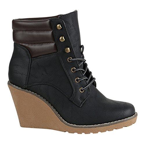 Damen Schuhe Stiefeletten Keilabsatz Wedges Boots Keilstiefeletten 152360 Schwarz Braun 39 Flandell