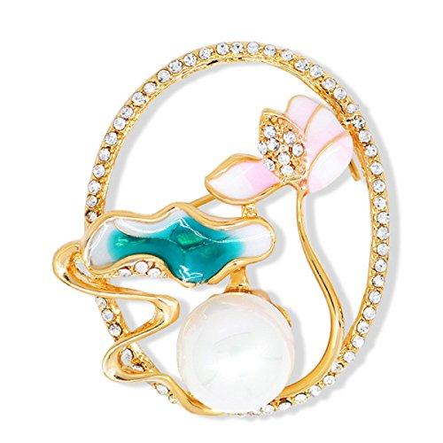 Frau Legierung Perle Brosche Mode Elegant Emaille Teich Mond Farbe Zubehör,Multi-colored-L