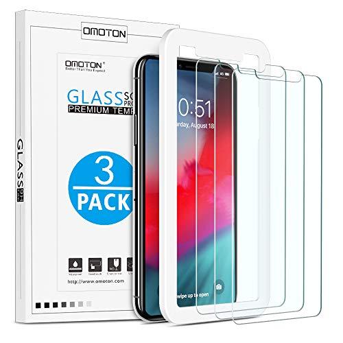 OMOTON [3 Pièces] iPhone XS Max Protection Ecran Verre Trempé avec Kit Installation Offert [ 6.5 Pouces 9H Dureté, sans...
