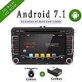 Con fotocamera + Canbus di navigazione 7' 2 DIN Android 7.1.1 qual-core di navigazione touch screen lettore DVD per VW Volkswage, supporto Mirror Link/OBD2/Subwoofer/RDS/Bluetooth