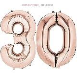 Meowoo Luftballon 30 Geburtstag Helium 40 Zoll Folienballon Zahl 30 Geburtstag Party Dekoration Supplies(Gold,Silber,Rosa,Rose,Blau (Rose-Gold)