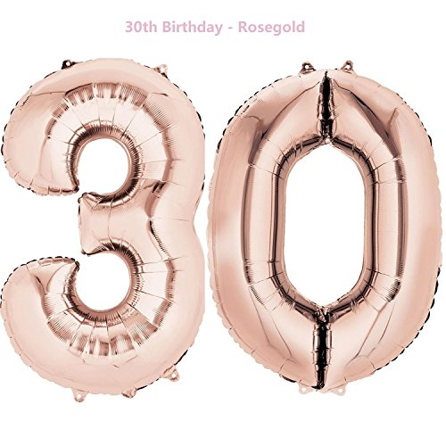 Meowoo Helium Luftballon 30 Geburtstag 40 Zoll Folienballon Zahl 30 Geburtstag Party Dekoration Supplies (Rose-Gold)