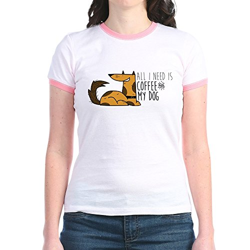 CafePress Need Is Coffee and Mydog - Jr. Ringer T-Shirt, Slim Fit 100% Cotton Ringed Shirt