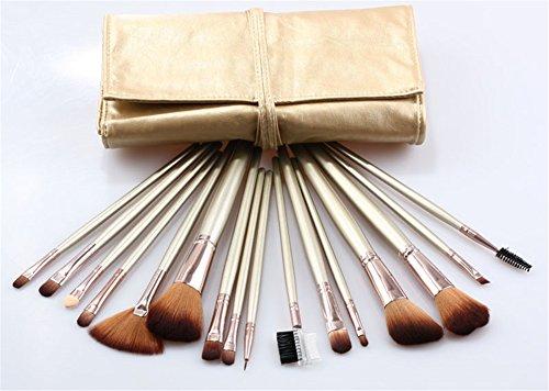 RoseFlower® Professionnel 16 Pcs Pinceaux Maquillage Trousse - Pro Make Up Cosmétique Brosse / Brushes Kit Pour Visage Blending Fondation Blush Eyeliner Poudre