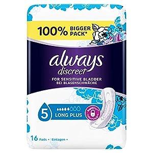 Always Discreet Inkontinenz Einlagen+ Long Plus Bei Blasenschwäche, Vorteilspack, 1er Pack (1 x 16 Stück)