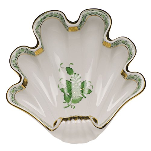 Herend China Chinese Bouquet Green Shell Dish by Herend - Chinese Bouquet Green Shell
