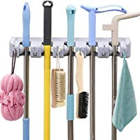 AMERTEER Mop and Broom Holder Wall Mount Heavy Duty Broom Holder Wall Mounted Broom Organizer Home Garden Garage Storage Rack 5 Position (grey)