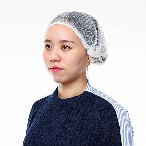 Carevas 100 STÜCKE Einweg Haarnetz Kappen Elastische Vlies Kopf Bouffant Caps Haar Abdeckungen für Medizinische / Labs / Food Service / Tattoo 2 Farbe 2 Größe