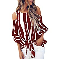 Women's T-shirt Striped Off Shoulder Bell Sleeve Shirt Tie Knot Casual Blouses Tops (M, Wine)
