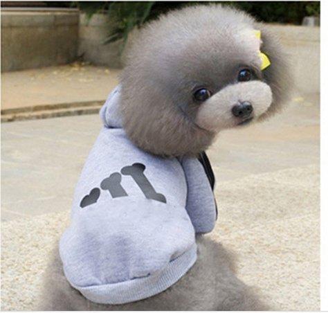 KINGDUO Haustier Hund Welpe Baumwolle Winter Mäntel Hoodietwo-Beine Kleidung mit Hut Sport Stil-Grau XL