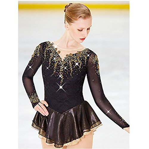 YUEZHIMEI Eiskunstlaufkleid für Mädchen Frauen Eislaufen Performance Kostüm Professionell Stretch Breathable,Custommade