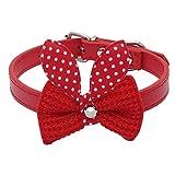 Hmeng Hundehalsband, Hunde Katze Welpen Wasserdichte Strick Bowknot Halsband Halsbänder Einfarbig Verstellbar Leather Buckle Halskette für Haustier Hunden Katzen (S:1.5cm*37cm, Rot)