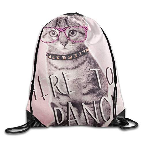 uykjuykj Tunnelzug Rucksäcke, Classic Cartoon Cat Sports Drawstring Bags for Adult and Birthday Pattern 5 Lightweight Unique 17x14 IN