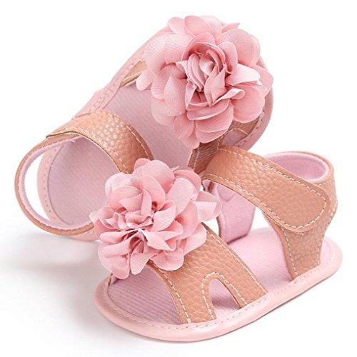 Igemy 1Paar Kleinkind Mädchen Krippe Schuhe Neugeborene Blume Soft Sohle Anti-Rutsch Baby Sneakers Sandalen Rosa