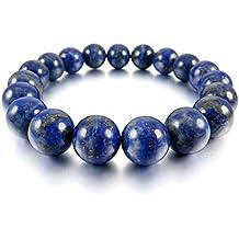 MunkiMix 10mm 12mm Pulsera Energía Eslabones Link Enlace Muñeca Energía Piedras Azul Lapislázuli Budismo Budista Mala Bola Bead