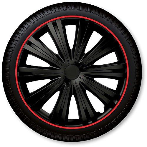 Petex Radblenden Set Giga R Schwarz/Rot 15 Zoll Radkappen Radzierblenden Universal für alle Marken