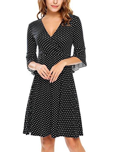 Beyove Damen Polka Dots Wickelkleider V- Ausschnitt Jersey Kleid Wickeloptik Partykleider Schwarz Größe S Jersey Wrap Front Dress