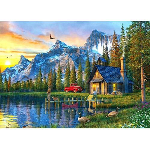Waofe Ein Haus Am See Diy Malen Nach Zahlen 24 Farbpigmentpinsel-Malerei-Kunst-Handgemaltes Digitales Ölgemälde- With Frame