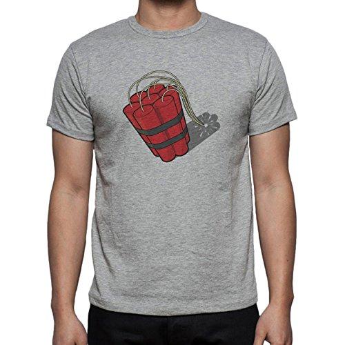 Bomb Atom Boom Fire Red Herren T-Shirt Grau