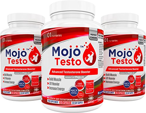 513UWKyFlWL - MOJO™ TESTO - Testosterone Boosters for Men / Women | Tribulus Terrestris | MACA | Avena Sativa Capsules | Raise Libido, Increase Muscle & Strength | Growth Supplement | Stamina & Endurance Boost Booster