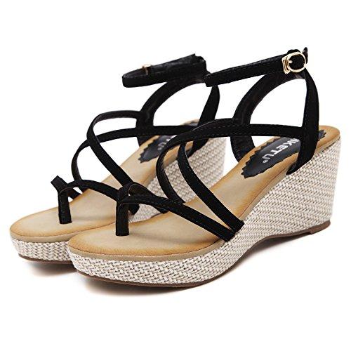ZOEREA Damen Sandalen mit Keilabsatz Frauen Sommer Schuhe Knöchelriemen Antirutsch Komfortabel Flip Flops Schwarz