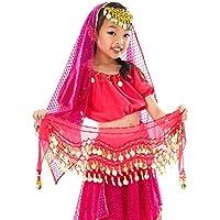 Calcifer - Cinturón de Gasa para Danza del Vientre, 3 Capas, para niños, Rojo Rosa