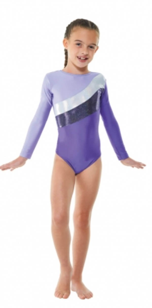 Tappers & Pointers Ginnastica body manica lunga Stagnola Righe/Lycra GYM19 - Viola, ADULT S (SIZE 3)