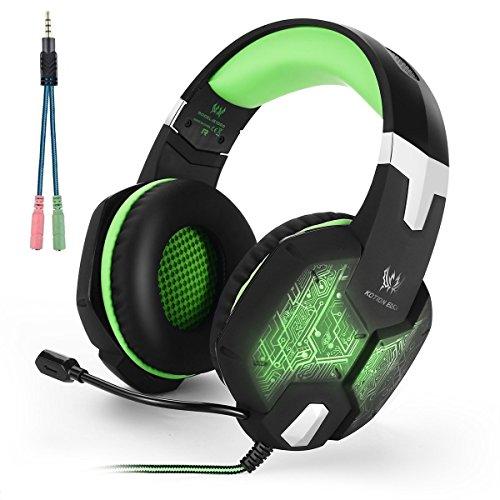 Gaming Kopfhörer, KOTION EACH G1000 3,5 mm Wired Over-Ear-Kopfhörer für PS4 mit Mikrofon Stereo Bass LED Licht für Laptop Computer - Schwarz + Grün
