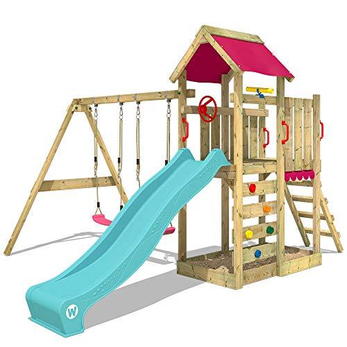 WICKEY Spielturm MultiFlyer Garten Kletterturm mit Doppelschaukel, Rutsche, Sandkasten und viel Zubehör