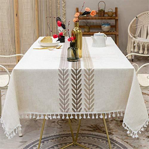 SONGHJ Baumwolle Leinen Bestickte Quaste Tischdecke Wasserdicht Rechteckig Hochzeit Esszimmer Dekoration Tischdecke Tee Tischdecke B 140x220cm