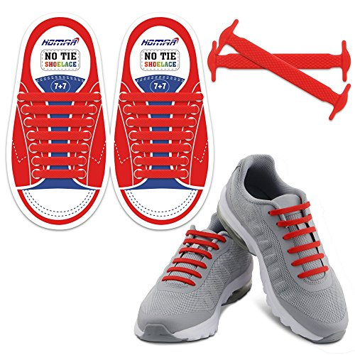 Homar Reflektierende Kein Tie Kinder Schnürsenkel - Best in Alternative Shoelaces - Sicherheitsschmutzfester wasserdicht Gummi Shoelaces Perfekt für Sneaker Stiefel Oxford Laufschuhe - Rot (Gummi-stiefel Bunte)