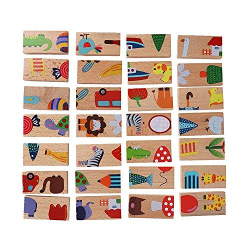 Domino Blöcke Set Tier Farbige Holzpuzzle Frühe Pädagogische Spielzeug für Kinder ()